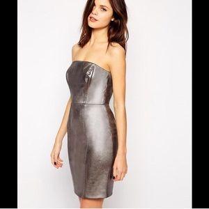 Warehouse BNWT $250 sz 2 silver tube dress ASOS